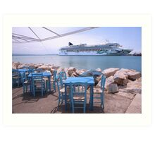 A Cruise ship in Greece Art Print