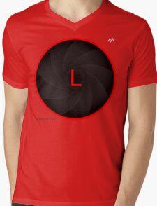 Mediarena Canon L lens L T-shirt Mens V-Neck T-Shirt