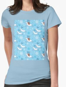 Riding Reindeer - Christmas Pattern Womens Fitted T-Shirt