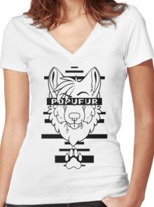 POPUFUR -black text- Women's Fitted V-Neck T-Shirt