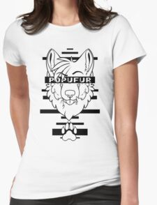 POPUFUR -black text- Womens Fitted T-Shirt