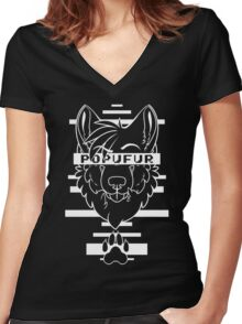 POPUFUR -white text- Women's Fitted V-Neck T-Shirt