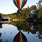 Hot Air Balloon Reflections with Covered Bridge by Edward Fielding