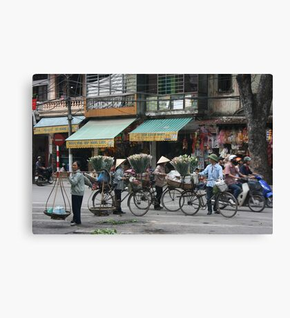 flower sellers | Hanoi Viet Nam Canvas Print