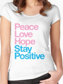 Peace Love Hope Stay Positive (pink/blue) Women's Fitted Scoop T-Shirt