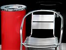 Red Bin and Metal Chair by Sally Green
