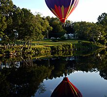 Hot Air Balloon River Reflections by Edward Fielding