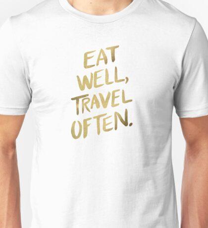 Eat Well, Travel Often – Gold Unisex T-Shirt
