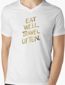 Eat Well, Travel Often – Gold Mens V-Neck T-Shirt