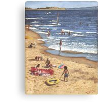 people on Bournemouth beach Blue Sea Canvas Print