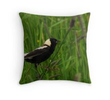 Bobolink Amidst the Grassland Throw Pillow