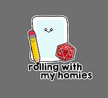 Polyhedral Pals - D20, Pencil, and Paper - Rolling with my Homies by whimsyworks