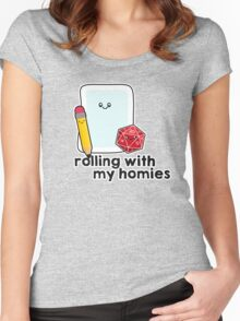 Polyhedral Pals - D20, Pencil, and Paper - Rolling with my Homies Women's Fitted Scoop T-Shirt