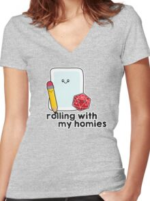 Polyhedral Pals - D20, Pencil, and Paper - Rolling with my Homies Women's Fitted V-Neck T-Shirt