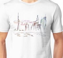 Chicago city scape line drawing Unisex T-Shirt