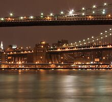Brooklyn And Manhattan Bridges At Night by boris reyt