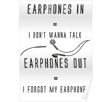 Funny Music Earphones Quote Poster