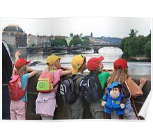 Children on Charles Bridge, Prague Poster