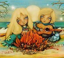 beach campfire by © Karin (Cassidy) Taylor