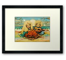 beach campfire Framed Print