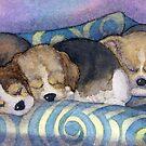 To sleep, perchance to dream - Beagle puppies on the sofa by SusanAlisonArt