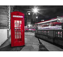 Telephone Booth with Big Ben Photographic Print