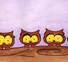 Owls On a Coffee Break by Jennifer Gibson
