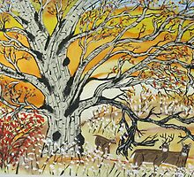 Whitetails and White Oak Tree by JeffreyKoss