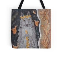 Wolf and flower crown Tote Bag