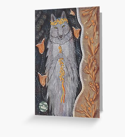 Wolf and flower crown Greeting Card