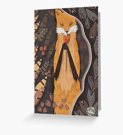 Fox and candy bird Greeting Card