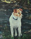 Terrier by a Creek by Pam Humbargar