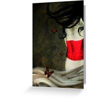 Corset Rojo y Mariposas Greeting Card
