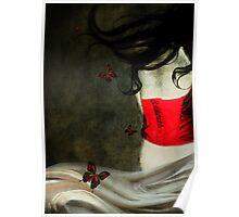 Corset Rojo y Mariposas Poster