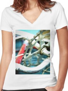 Junked Bicycle Sprocket Women's Fitted V-Neck T-Shirt