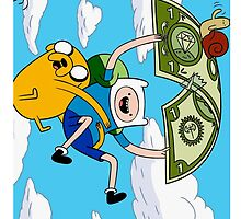 Finn and Jake flyinng on money Iphone Case by RedRoseCase77