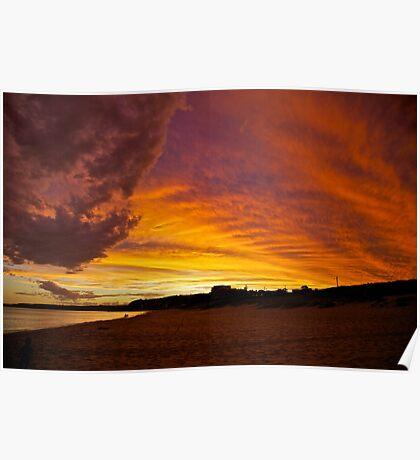 Sky Ablaze - Merewether Beach Poster
