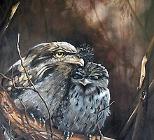 """Tawny Evening - Tawny Frogmouths"" by Michelle Caitens"