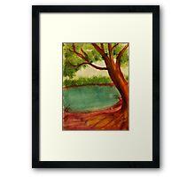 Old tree along shore path, watercolor Framed Print