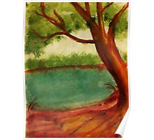 Old tree along shore path, watercolor Poster