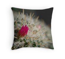 Pink flowering cactus Throw Pillow