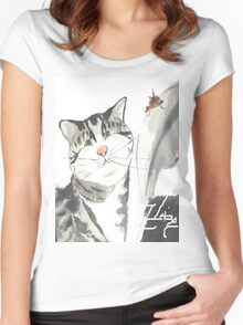 cat and red insect Women's Fitted Scoop T-Shirt