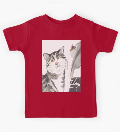 cat and red insect Kids Tee