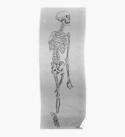 One Armed Skeleton Sketch Poster