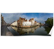 Canal and Reflections Bruges Panorama Poster