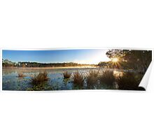 Misty Morning at Lake Kurwongbah Poster