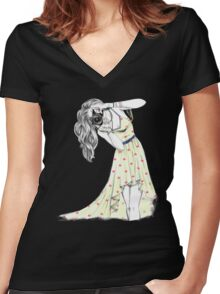Photographer Girl Women's Fitted V-Neck T-Shirt