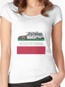 Volvofornia Slammed Volvo 245 240 Wagon California Style Women's Fitted Scoop T-Shirt