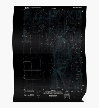 USGS Topo Map Oregon Mahon Creek 20110831 TM Inverted Poster