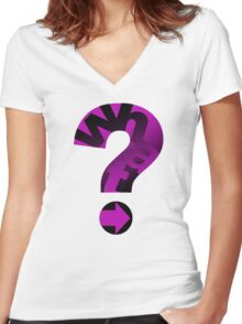 WHAT(PINK) Women's Fitted V-Neck T-Shirt